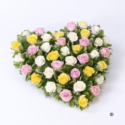 Mixed Rose Heart   Pink, Yellow and Cream *