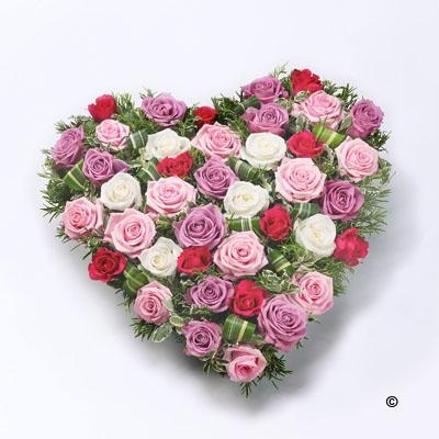 Mixed Rose Heart   Pink, Red and White *