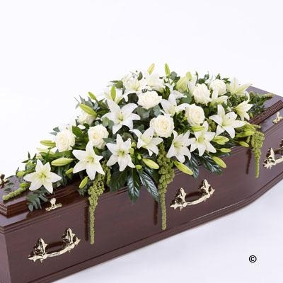 Lily and Rose Casket Spray   White *