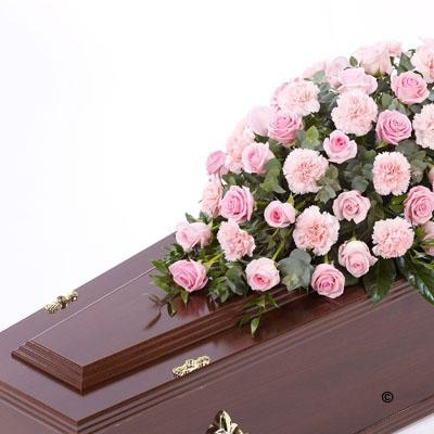 Rose and Carnation Casket Spray   Pink *
